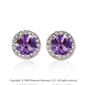 14k White Gold Round 2 Carat Amethyst Diamond Stud Earrings