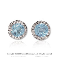 14k White Gold Round 2 Carat Aquamarine Diamond Stud Earrings