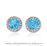 14k White Gold Round 2 Carat Blue Topaz Diamond Stud Earrings