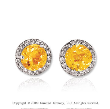 14k White Gold Round 2 Carat Citrine Diamond Stud Earrings