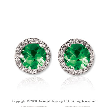 14k White Gold Round 2 Carat Emerald Diamond Stud Earrings
