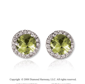 14k White Gold 2 Carat Green Amethyst Diamond Stud Earrings