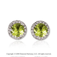 14k White Gold Round 2 Carat Lime Quartz Diamond Stud Earrings