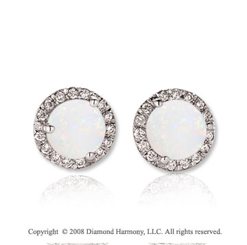 14k White Gold Round 2 Carat Opal Diamond Stud Earrings