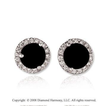 14k White Gold Round 2 Carat Onyx Diamond Stud Earrings
