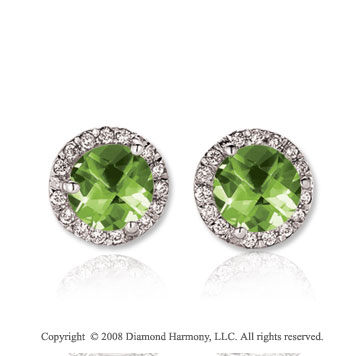 14k White Gold Round 2 Carat Peridot Diamond Stud Earrings