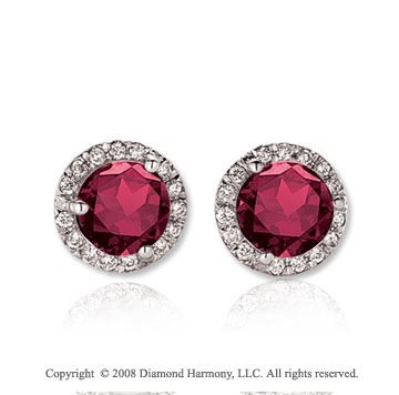 14k White Gold Round 2 Carat Ruby Diamond Stud Earrings