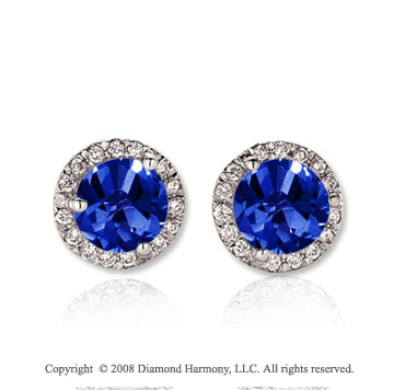 14k White Gold 2 Carat Blue Sapphire Diamond Stud Earrings