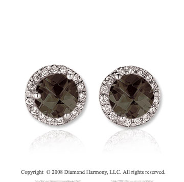 14k White Gold 2 Carat Smokey Quartz Diamond Stud Earrings