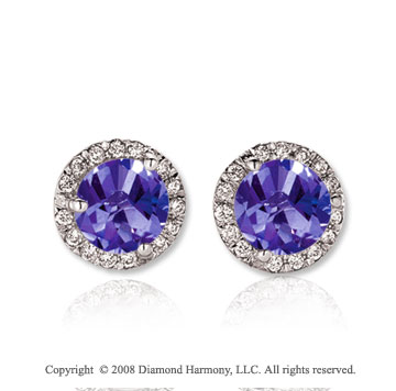 14k White Gold Round 2 Carat Tanzanite Diamond Stud Earrings
