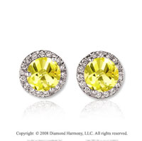 14k White Gold 2 Carat Yellow Sapphire Diamond Stud Earrings