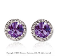 14k White Gold Round 4 Carat Amethyst Diamond Stud Earrings