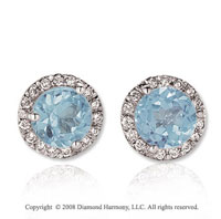 14k White Gold Round 4 Carat Aquamarine Diamond Stud Earrings