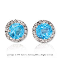 14k White Gold Round 4 Carat Blue Topaz Diamond Stud Earrings