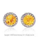 14k White Gold Round 4 Carat Citrine Diamond Stud Earrings