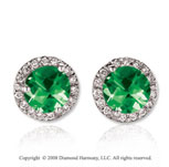 14k White Gold Round 4 Carat Emerald Diamond Stud Earrings