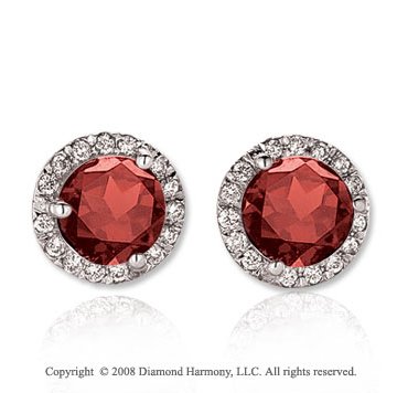 14k White Gold Round 4 Carat Garnet Diamond Stud Earrings