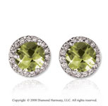 14k White Gold 4 Carat Green Amethyst Diamond Stud Earrings