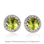 14k White Gold Round 4 Carat Lime Quartz Diamond Stud Earrings