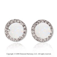 14k White Gold Round 4 Carat Opal Diamond Stud Earrings