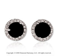 14k White Gold Round 4 Carat Onyx Diamond Stud Earrings