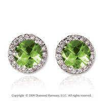 14k White Gold Round 4 Carat Peridot Diamond Stud Earrings
