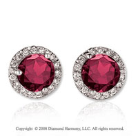 14k White Gold Round 4 Carat Ruby Diamond Stud Earrings