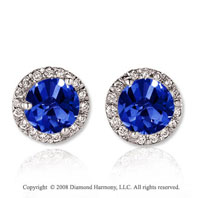 14k White Gold 4 Carat Blue Sapphire Diamond Stud Earrings