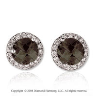 14k White Gold 4 Carat Smokey Quartz Diamond Stud Earrings