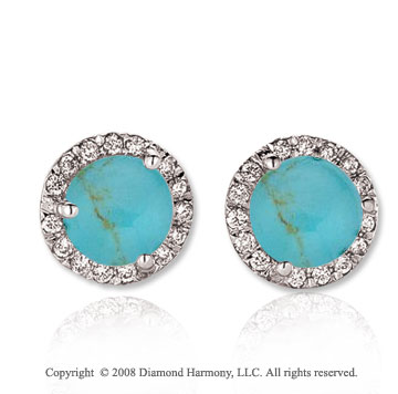 14k White Gold Round 4 Carat Turquoise Diamond Stud Earrings