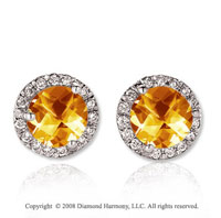 14k White Gold 4 Carat Whiskey Quartz Diamond Stud Earrings
