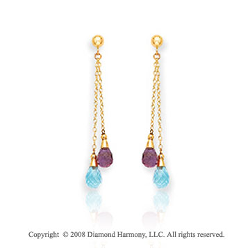 14k Yellow Gold Fancy Amethyst & Blue Topaz Drop Earrings