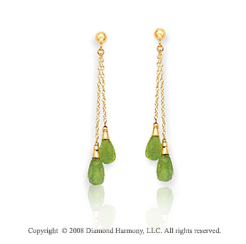 14k Yellow Gold Simple Attractive Peridot Drop Earrings