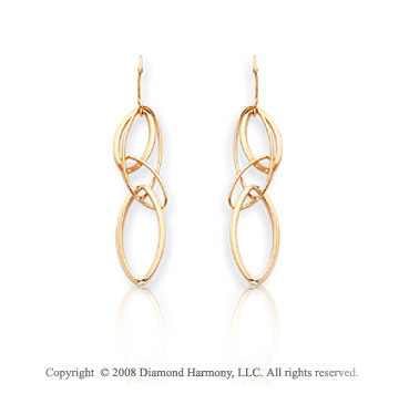14k Yellow Gold Modern Stylish Fine Drop Earrings