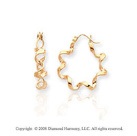 14k Yellow Gold Stylish Small Twisted Hoop Earrings