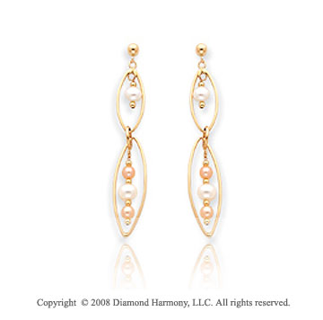 14k Yellow Gold Simple Attractive Pearl Drop Earrings