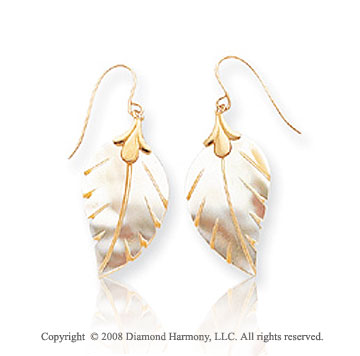 14k Yellow Gold Leaf Designed Mother of Pearl Drop Earrings