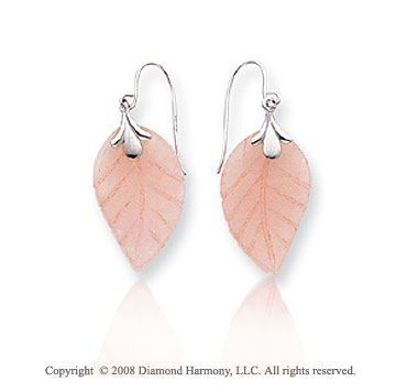14k White Gold Leaf Designed Rose Quartz Drop Earrings