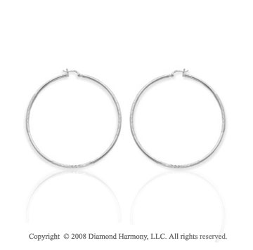 14k White Gold Large 2 1/4 Inch Hoop Earrings