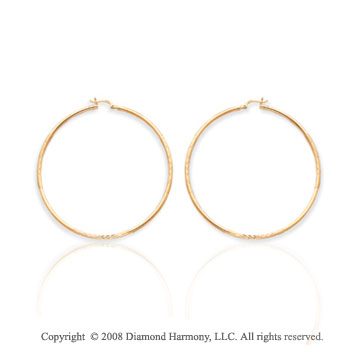 14k Yellow Gold Large 2 1/2 Inch Hoop Earrings