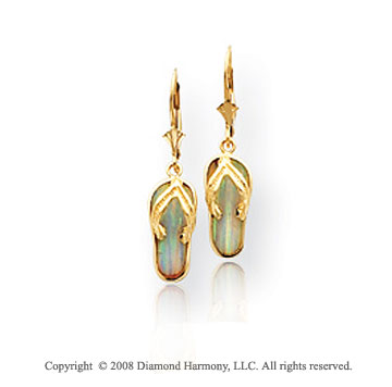 14k Yellow Gold Fashionable Sandals Drop Earrings