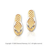 14k Two-Tone Carved Modern Style Sandals Earrings