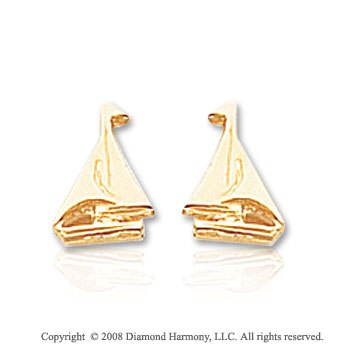 14k Yellow Gold Unique & Attractive Sailboat Earrings