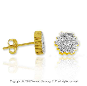 14k Yellow Gold 1/3 Carat Diamond Flower Button Earrings