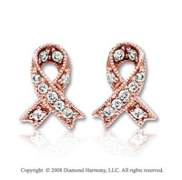14k Rose Gold Diamond Breast Cancer Awareness Earrings