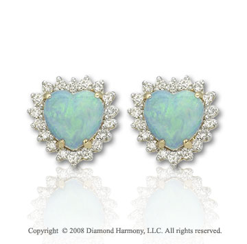 14k Yellow Gold Heart Shaped Opal 1/3 Carat Diamond Earrings