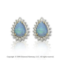 14k Yellow Gold Pear Shaped Opal 1/4 Carat Diamond Earrings