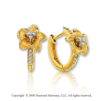 14k Yellow Gold 0.15 Carat Diamond Flower Huggie Earrings