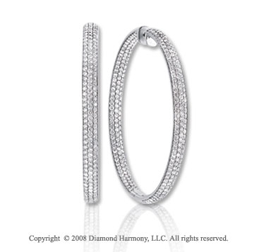 HUGE! 15 Carat Diamond 14k White Gold 2 3/4 Inch Inside/Outside Hoop Earrings