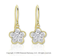 14k Two Tone Gold Diamond Flower Drop Earrings